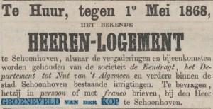 Advertentie Heerenlogement Groeneveld van der Kop