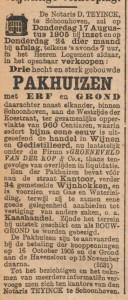 Verkoop drie pakhuizen 1905